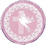 Fóliový balón krížik ružový