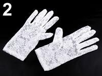 Spoločenské rukavice krajkové biele krátke
