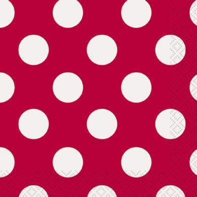 Servítky veľké červené bodky