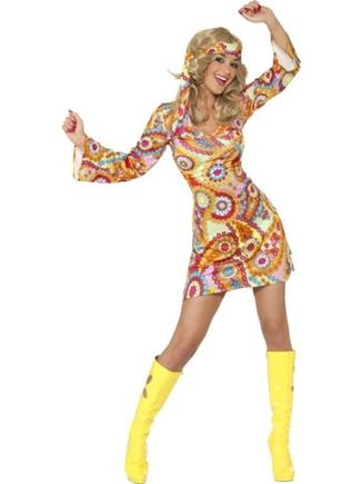 Kostým farebné  retro šaty L