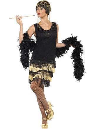 Kostým charleston čierno zlaté šaty M