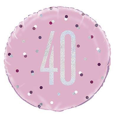Fóliový balón 40 Birthday ružový
