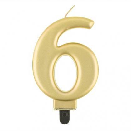sviečka metalická zlatá č.6