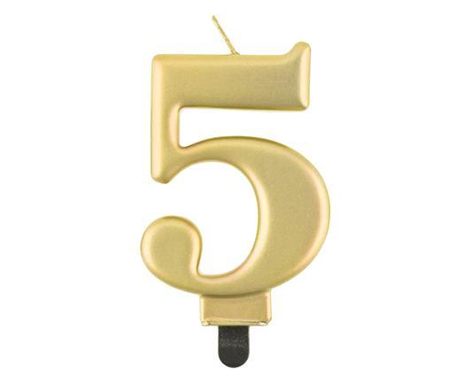 sviečka metalická zlatá č.5