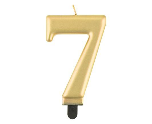 sviečka metalická zlatá č.7
