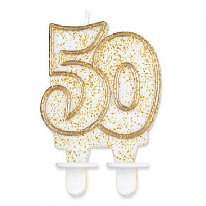 sviečka č.50 zlatá