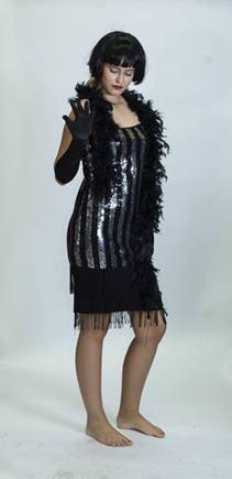 Kostým charleston prúžkované šaty S