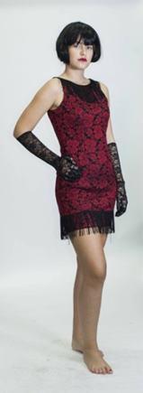 Kostým charleston červeno čierne šaty XS