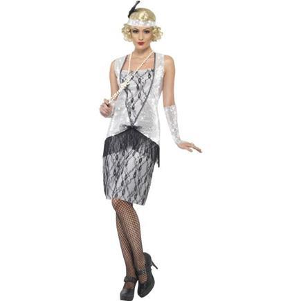 Kostým charleston stieborné šaty M
