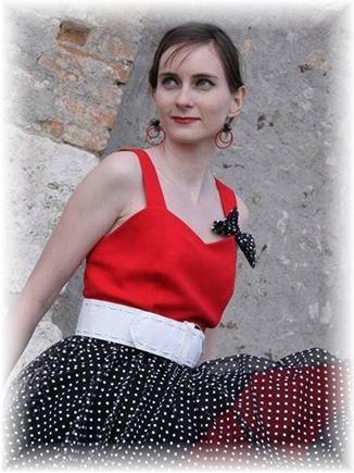 Kostým retro šaty bodkované S