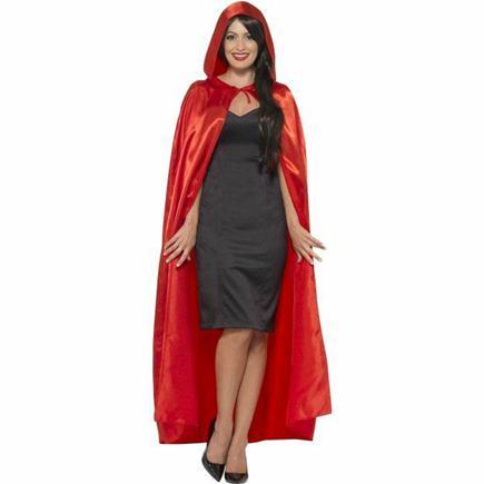 červený dlhý plášť s kapucńou S/M