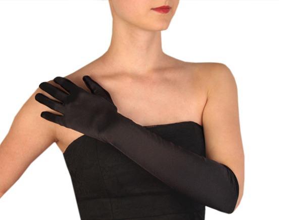 Dlhé spoločenské rukavice saténové čierne