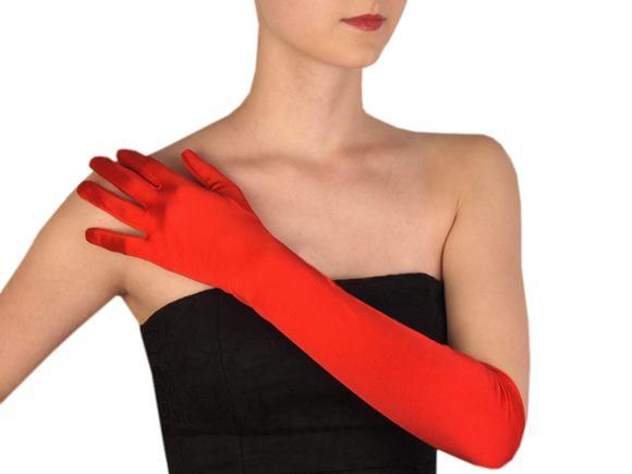 Dlhé spoločenské rukavice saténové červené