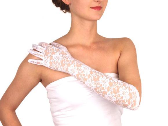 Dlhé spoločenské rukavice krajkové biele