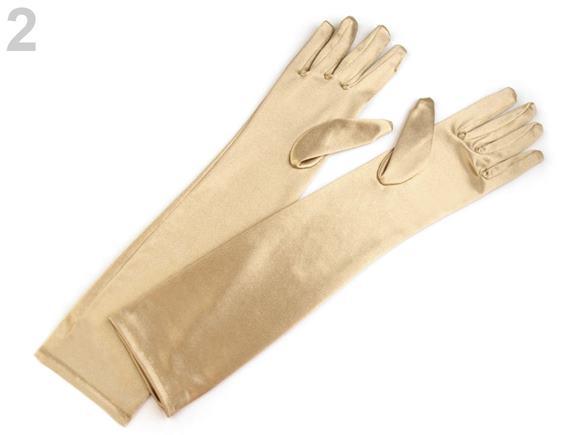 Dlhé spoločenské rukavice saténové zlaté