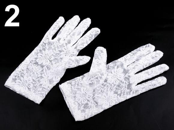 Spoločenské rukavice krajkové dievčenské