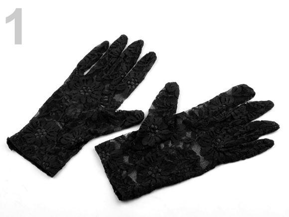 Spoločenské rukavice krajkové čierne krátke
