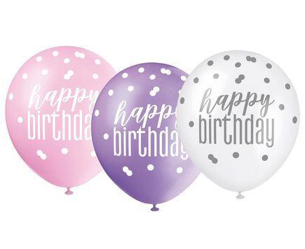 Bodkované balóny Happy Birthday