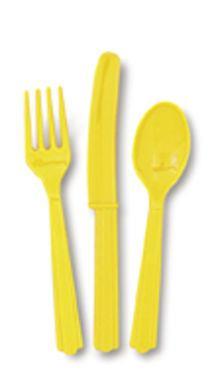 Sada plastových príborov žltá