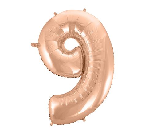 Fóliový balón č. 9 ružovo zlatý