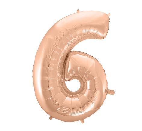 Fóliový balón č. 6 ružovo zlatý