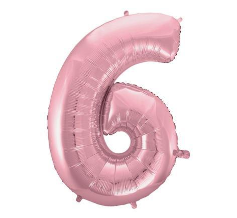 Fóliový balón č. 6 svetloružový