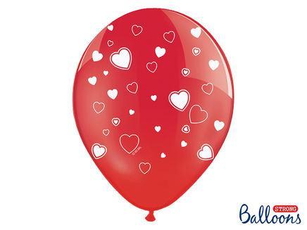 Srdiečkové balóny červené