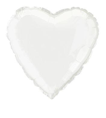 Fóliový balón srdce biele