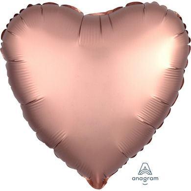Fóliový balón srdce Satin Luxe ružovo-medený