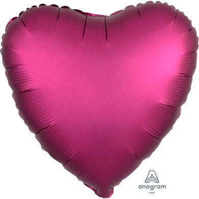 Fóliový balón srdce Satin Luxe tmavoružový