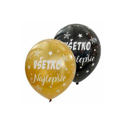 Balóny Všetko najlepšie zlato čierne