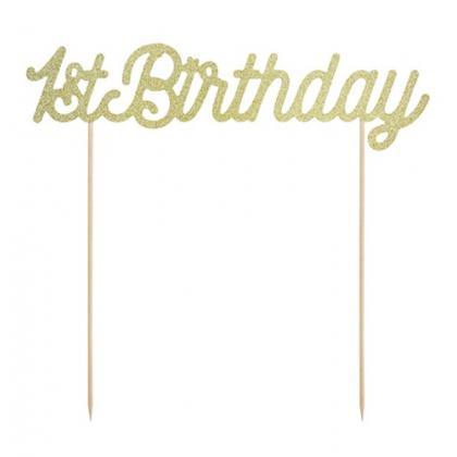 Ozdoba na tortu 1. narodeniny zlatá  trblietavá, rozmer: 21 cm