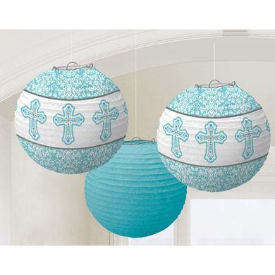 Dekoračné lampióny modré krížiky